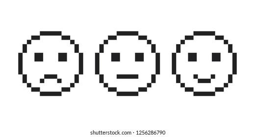 Pixel smile emoji face icon.  Pixel Emotion face set vector eps10. Pixel smile emoji black color outline