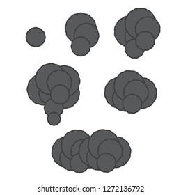 Pixel smoke cloud. Ui video game animation frames.