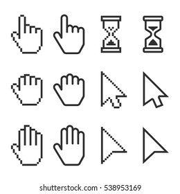 Pixel, and smooth cursors icons mouse hand arrow hourglass. Cursor symbol set. Eps10.