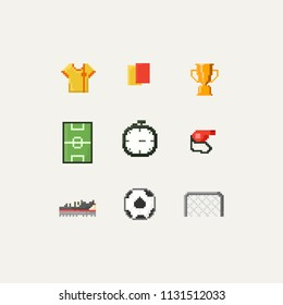 Pixel soccer elements.8bit.