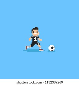 Pixel soccer player runing after ball.8bit character.