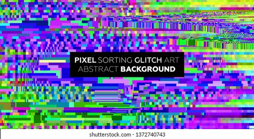 Pixel sorting glitch background with digital noise and damage error. Trendy uniquie vaporwave retro futuristic design. Eps10 vector illustration
