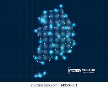 Pixel South Korea map with light effect
