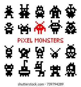 Pixel space monsters. Vintage arcade video game invaders vector illustration