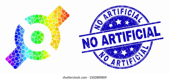 Pixel spectral artificial joint mosaic icon and No Artificial seal stamp. Blue vector rounded grunge stamp with No Artificial phrase. Vector collage in flat style.