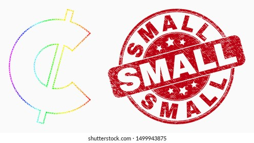 Pixel spectral cent mosaic pictogram and Small seal stamp. Red vector round textured seal stamp with Small caption. Vector combination in flat style. Spectral gradiented cent mosaic of random dots,