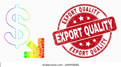 Pixel spectral export dollar mosaic icon and Export Quality seal stamp. Red vector round scratched stamp with Export Quality title. Vector combination in flat style.