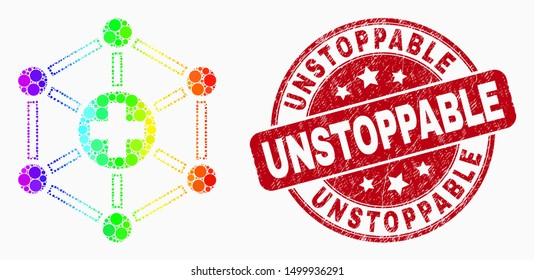 Pixel spectral medical links mosaic pictogram and Unstoppable stamp. Red vector round textured seal stamp with Unstoppable phrase. Vector combination in flat style.