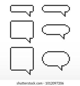 Pixel speech bubble, with place for text boxes, dialog boxes text message set.