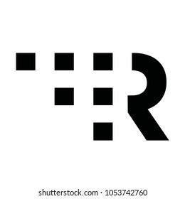 Pixel Square R Letter Logo Icon Emblem