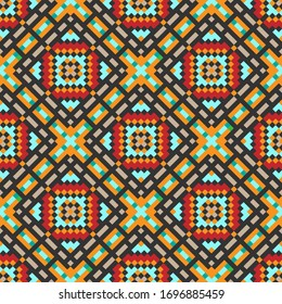 Pixel squares and rhombuses. Bright colorful mosaic seamless pattern. Vector graphic illustration. Background. Texture.