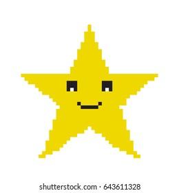 Pixel star icon. 8-bit Pixel star game. Vector.