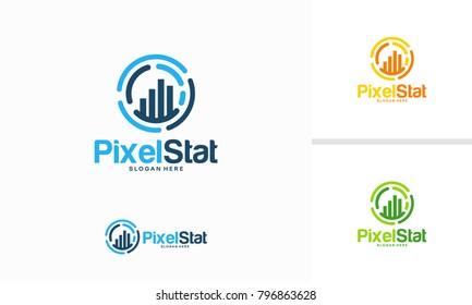 Pixel Stats logo designs concept vector, Graph Technology logo template