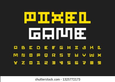 Pixel style font, alphabet letters and numbers vector illustration