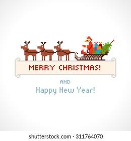 Pixel style Santa Claus in a sleigh, vector