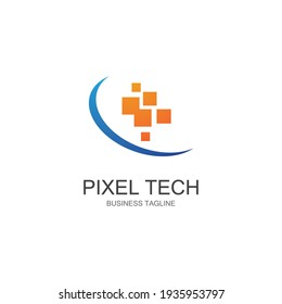 Pixel technology logo vector design