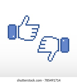 Pixel thumb up, like pixel symbol. Set of Like and dislike icon.