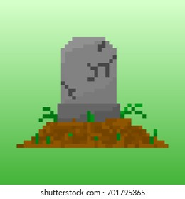 Pixel tombstone for games and applications. Scenery for Halloween.