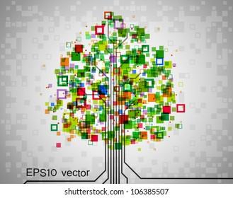 Pixel tree, symbolizing technological progress of modern science, EPS10 vector