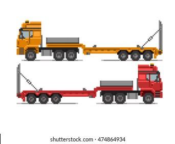 Pixel Truck  illustration. Side view