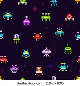 Pixel Ufo Aliens space invaders retro video game seamless pattern. Vector set of Cute Pixel Monsters and space ships pixelated illustration. Endless background