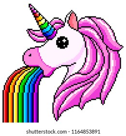 Pixel unicorn pukes rainbow detailed isolated vector