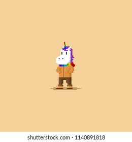 Pixel unicorn wear autumn costume.8bit character.