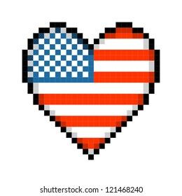 Pixel USA Love Heart