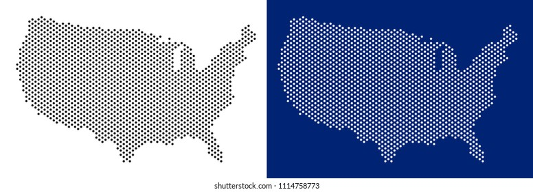 Pixel USA map. Vector geographic map on white and blue backgrounds. Vector collage of USA map combined of sphere items.