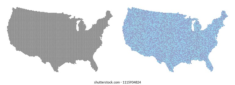 Pixel USA map version. Vector territory schemes in black color and blue color hues. Abstract concept of USA map composed from circle dot array.