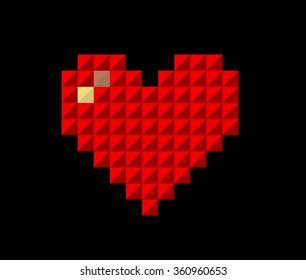 Pixel valentines happy day winter background. card vector illustration for fine emotion