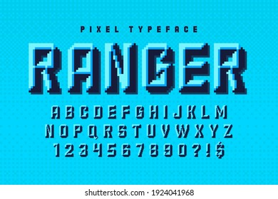 Pixel vector alphabet design, stylized like in 8-bit games. Chisel crafted. High contrast, retro-futuristic.