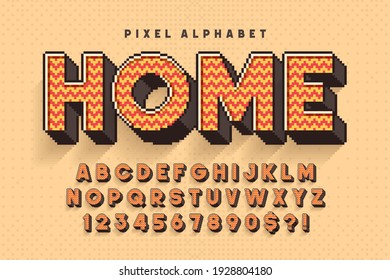 Pixel vector alphabet design, stylized like in 8-bit games. High contrast, retro-futuristic. Easy swatch color control.