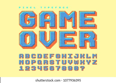 Pixel vector font design, stylized like in 8-bit games. 3d effect, retro-futuristic, game over sign. Swatch color control.