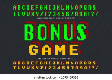 Pixel vector font design, stylized like in 8-bit games. High contrast, retro-futuristic, 2 in 1. Easy swatch color control.