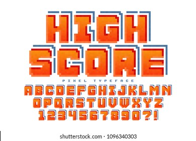 Pixel vector font design, stylized like in 8-bit games. High contrast, retro-futuristic. Easy swatch color control.