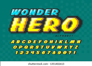Pixel vector font design, super hero style alphabet. High contrast, retro-futuristic. Easy swatch color control.