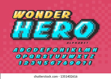 Pixel vector font design, super hero style alphabet. High contrast, retro-futuristic. Easy swatch color control.