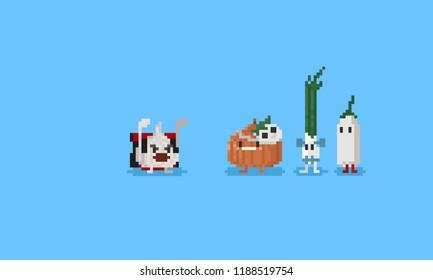 Pixel vegetables with halloween costume cartoon.8bit character.