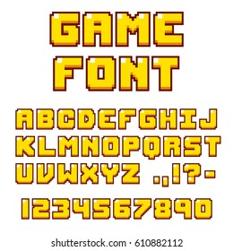 Pixel video game font. 8-bit symbols, letters and numbers. Oldschool retro nostalgic typeface.