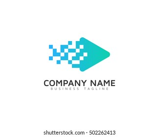 Pixel Video Logo Design Template