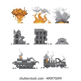 pixel war and destruction vector