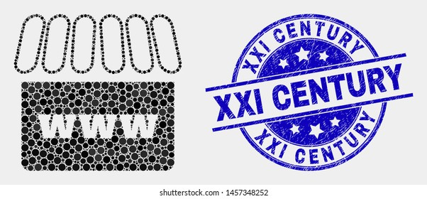 Pixel webshop mosaic pictogram and XXI Century seal stamp. Blue vector round distress seal with XXI Century title. Vector collage in flat style. Black isolated webshop mosaic of scattered spheres,