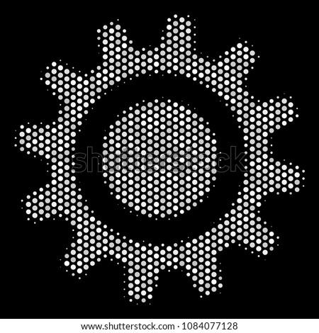 Pixel White Cog Icon On Black Stock Vector (Royalty Free