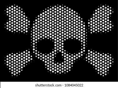 Pixel white skull crossbones icon on a black background. Vector halftone concept of skull crossbones symbol constructed of spheric elements.