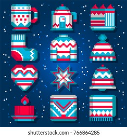Pixel winter objects in scandinavian style. Cute pixel art elements of clothes and home decorating, cozy living.