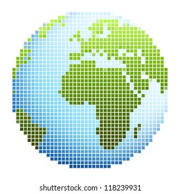Pixel world globe