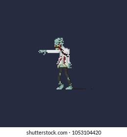 Pixel zombie in broken working uniform.halloween 8bit art vector illustration.