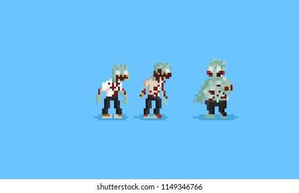 Pixel zombie character. 8bit. Halloween.