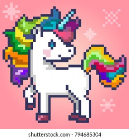Pixel-art character magic unicorn